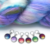 Set of six iridescent mermaid scales snag free ring stitch markers with yarn for knitting by Pretty Warm Designs