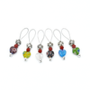 Set of six multi coloured glass heart beads, red crystal beads and antiqued silver flower beads stitch markers for knitting by Pretty Warm Designs