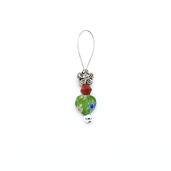 Multi coloured glass heart bead, red crystal bead and antiqued silver flower bead stitch marker for knitting by Pretty Warm Designs