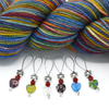 Set of six multi coloured glass heart beads, red crystal beads and antiqued silver flower beads stitch markers for knitting with yarn by Pretty Warm Designs