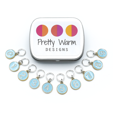 Set of ten blue on gold-toned number charm ring stitch markers with tin for knitting by Pretty Warm Designs
