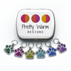Set of six silver and glitter enamel pet paw charms snag free ring stitch markers with tin for knitting by Pretty Warm Designs