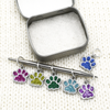 Set of six silver and glitter enamel pet paw charms snag free ring stitch markers with tin on needle for knitting by Pretty Warm Designs