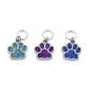 Three silver and glitter enamel pet paw charms snag free ring stitch markers with tin for knitting by Pretty Warm Designs