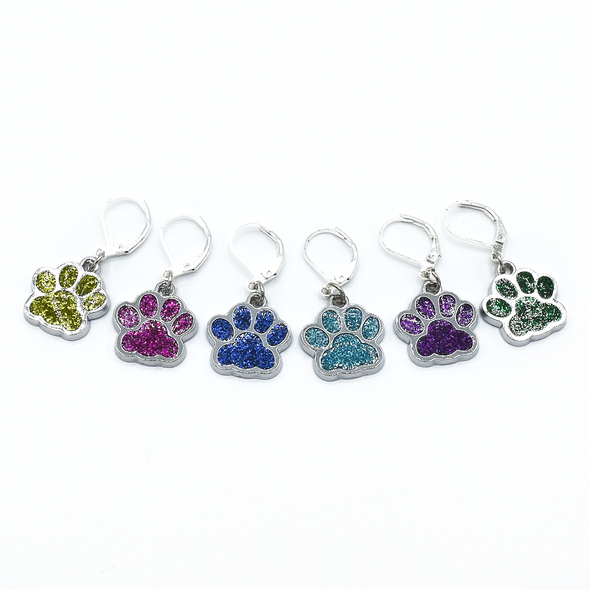 Set of six blue, light green, purple, turquoise, dark green and pink paw print pet charms on silver plated lever back clasps stitch holders for crochet by Pretty Warm Designs