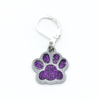 Purple paw print pet charm on silver plated lever back clasp stitch holder for crochet by Pretty Warm Designs