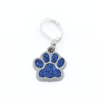 Blue paw print pet charm on silver plated lever back clasp stitch holder for crochet by Pretty Warm Designs