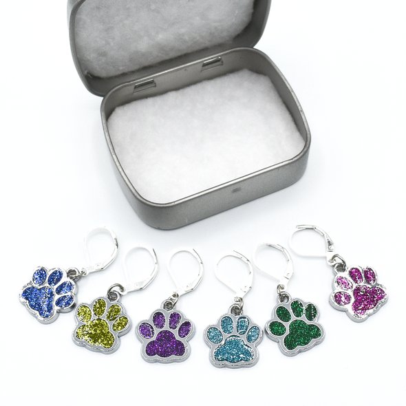 Set of six blue, light green, purple, turquoise, dark green and pink paw print pet charms on silver plated lever back clasps stitch holders with tin for crochet by Pretty Warm Designs