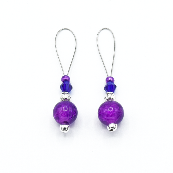 Two purple crackle glass beads, silver barrel beads, blue bicone crystal beads and purple seed beads on nylon coated wire, snag free stitch markers for knitting by Pretty Warm Designs