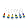 Set of six snag free rainbow glass beads, faceted glass drop beads and blue seed beads on nylon coated wire, stitch markers for knitting by Pretty Warm Designs