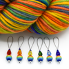 Set of six snag free rainbow glass beads, faceted glass drop beads and blue seed beads on nylon coated wire, stitch markers with yarn for knitting by Pretty Warm Designs