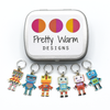 Set of six multi coloured enamel robot charms snag free ring stitch markers with tin for knitting by Pretty Warm Designs
