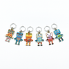 Set of six multi coloured enamel robot charms snag free ring stitch markers for knitting by Pretty Warm Designs