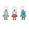 Three multi coloured enamel robot charms snag free ring stitch markers with tin for knitting by Pretty Warm Designs