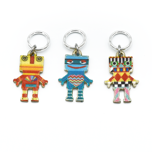 Three multi coloured enamel robot charms snag free ring stitch markers for knitting by Pretty Warm Designs