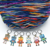 Set of six multi coloured enamel robot charms snag free ring stitch markers with yarn for knitting by Pretty Warm Designs