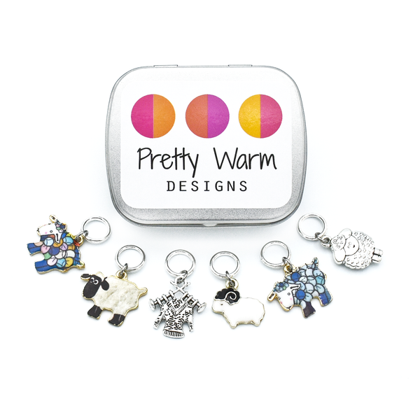Set of six silver and enamel sheep and knitted sweater charms snag free ring stitch markers with tin for knitting by Pretty Warm Designs