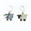 Two sheep charm locking stitch markers for crochet and knitting by Pretty Warm Designs