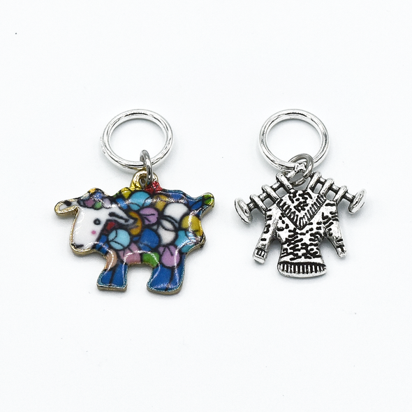Two multi coloured enamel sheep and silver knitted sweater charm snag free ring stitch markers for knitting by Pretty Warm Designs
