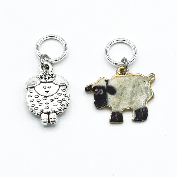 Two black and cream enamel sheep and silver sheep charm snag free ring stitch markers for knitting by Pretty Warm Designs