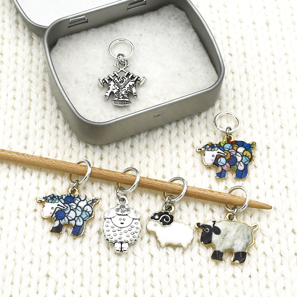 Set of six silver and enamel sheep and knitted sweater charms snag free ring stitch markers on needle with tin for knitting by Pretty Warm Designs