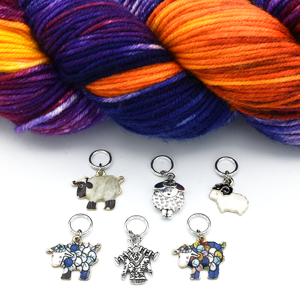 Set of six silver and enamel sheep and knitted sweater charms snag free ring stitch markers with yarn for knitting by Pretty Warm Designs