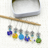 Set of six Millefiori flat glass circle beads, turquoise Austrian crystal beads, silver flower beads stitch markers on wire with tin and needle for knitting by Pretty Warm Designs