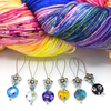Set of six Millefiori flat glass circle beads, turquoise Austrian crystal beads, silver flower beads stitch markers on wire with yarn for knitting by Pretty Warm Designs