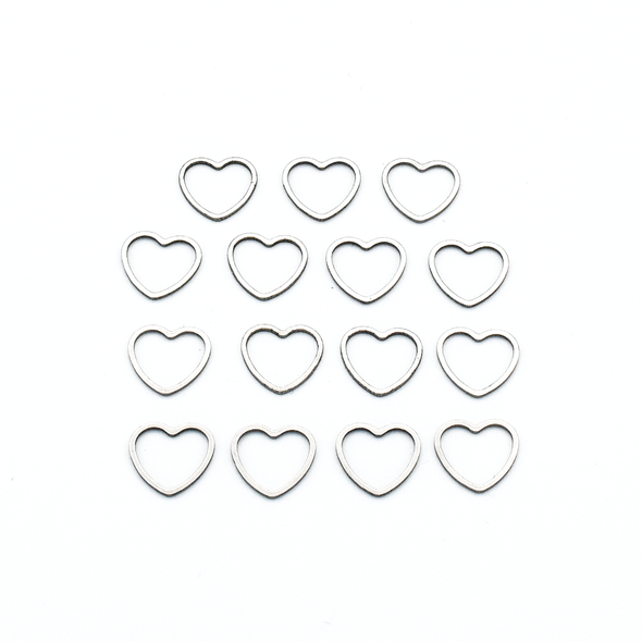 Set of fifteen small heart silver toned ring stitch markers for knitting by Pretty Warm Designs
