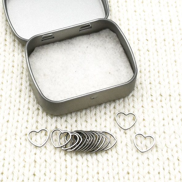 Set of fifteen small heart ring stitch markers with tin for knitting by Pretty Warm Designs