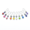 Set of ten different colours of striped glass beads, blue seed beads, antiqued silver alloy heart beads and snag free wire stitch markers for knitting by Pretty Warm Designs