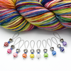 Set of ten different colours of striped glass beads, blue seed beads, antiqued silver alloy heart beads and snag free wire stitch markers with yarn for knitting by Pretty Warm Designs