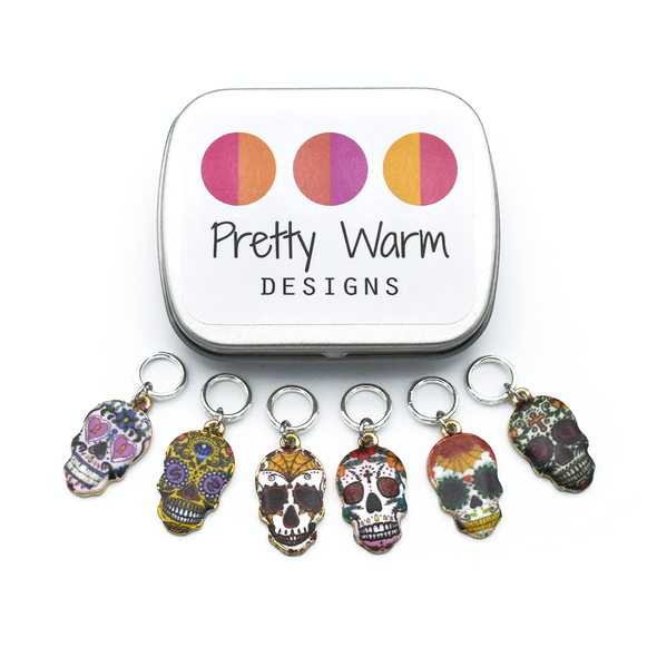 Set of six enamel sugar skull charms snag free ring stitch markers with tin for knitting by Pretty Warm Designs