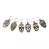 Set of six enamel sugar skull charms snag free ring stitch markers for knitting by Pretty Warm Designs