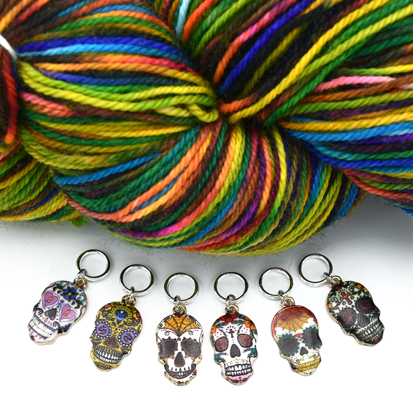 Set of six enamel sugar skull charms snag free ring stitch markers with yarn for knitting by Pretty Warm Designs