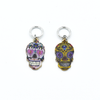 Two enamel sugar skull charms snag free ring stitch markers for knitting by Pretty Warm Designs