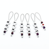 Set of six acrylic beads with BOR, K2T, SSK and red heart, deep purple Austrian crystal beads and wire snag free stitch markers for sweater knitting by Pretty Warm Designs