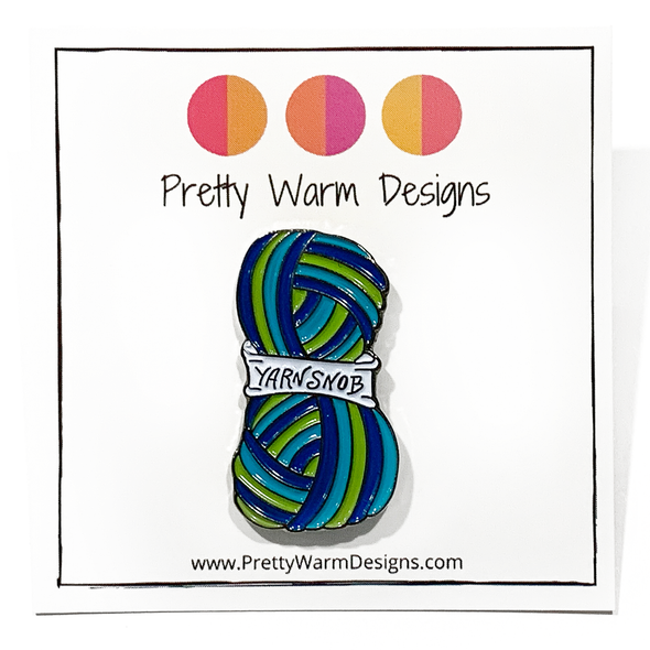 Blue, green and white enamel on silver metal Yarn Snob pin for knitting and crochet project bags by Pretty Warm Designs
