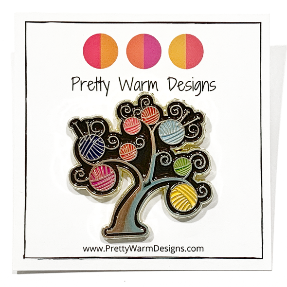Multicoloured enamel on gold metal yarn tree pin for knitting project bags by Pretty Warm Designs