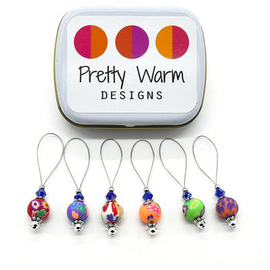 Pretty Warm Designs set of six colourful knitting stitch markers