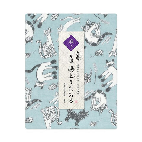 Yuzen Fine Mesh Bath Towel - Meow Cat Blue