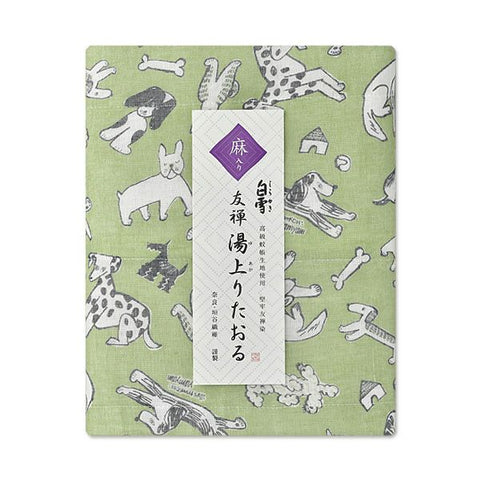 Yuzen Fine Mesh Bath Towel - Bow Dog Green
