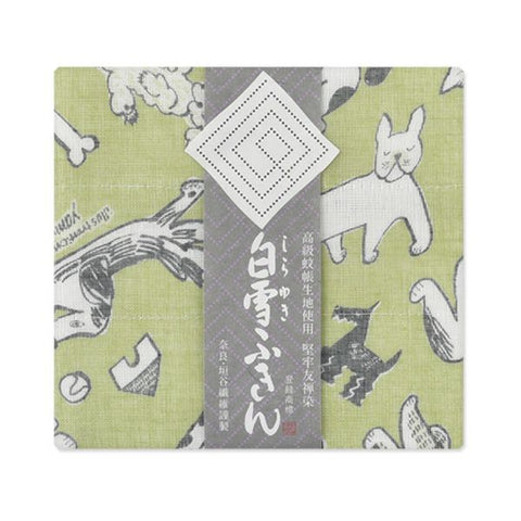 Yuzen Fine Mesh Dish Cloth - Bow Dog Green