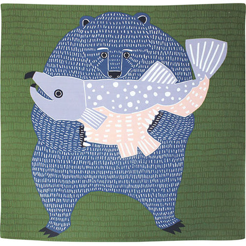 "39"" Aquadrop kata kata Furoshiki Bear & Salmon Green Water Repellent"