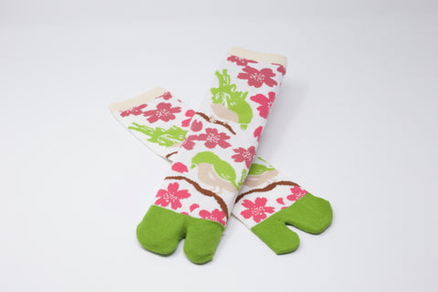 Sakura Bird Tabi Socks Ladies