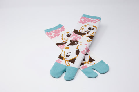 Sakura Cat Tabi Socks Ladies