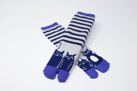 Cat Navy Tabi Socks Ladies