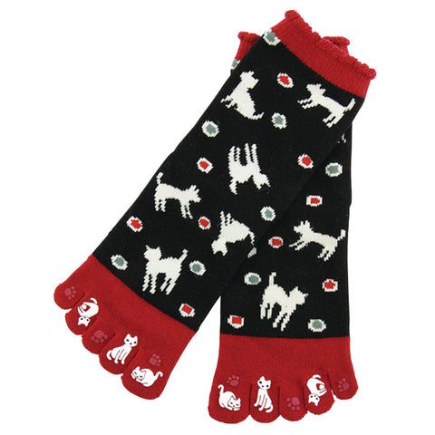 5-Toe Tabi Socks - White Cat
