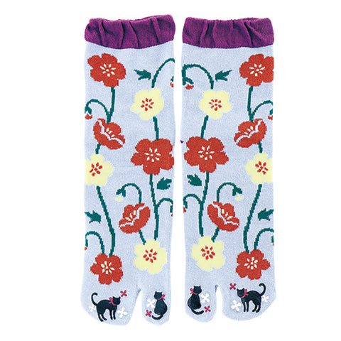 Black Cat Flower Tabi Socks Ladies
