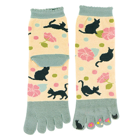 5-Toe Tabi Socks Ladies - Black Cat Dot